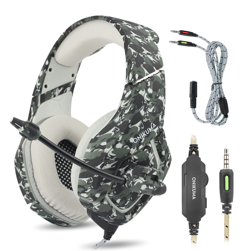 PS4 K1 Bass Gaming Headphones Camouflage Stereo Game Headset Casque Computer Headphone with Mic Earphone for Phone Xbox Tablet ndju k1 camouflage headset super bass ps4 gaming headphones with mic game earphones for pc mobile phone xbox one tablet casque
