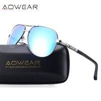 AOWEAR Men S Driving Aviator Sunglasses Polarized Men Aluminum Magnesium Coating Mirror Driver Sun Glasses For