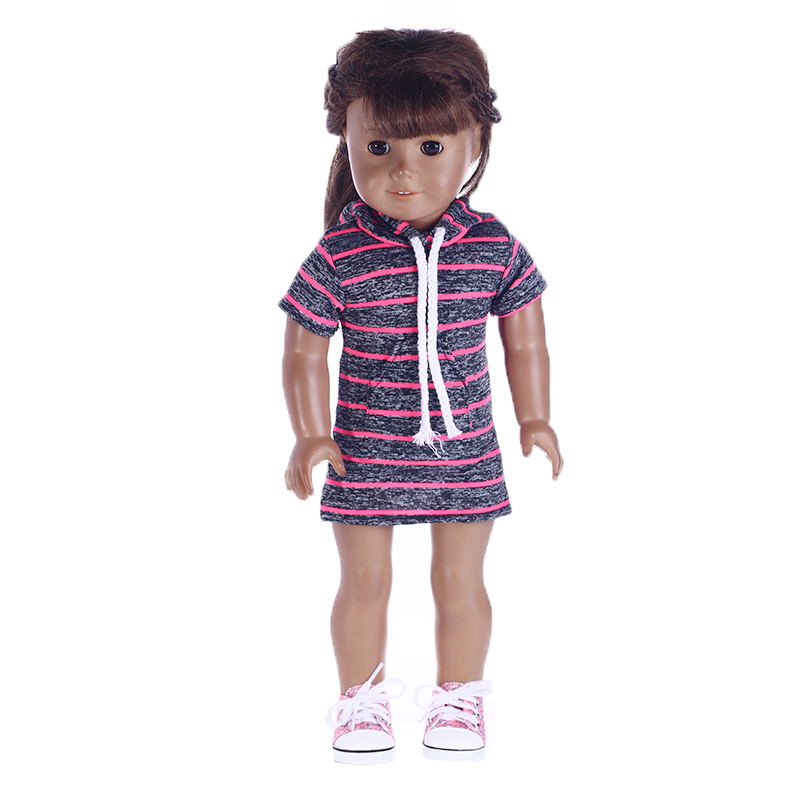 Fleta Doll Clothes two color hoodie Fit 18 Inch American Girl Doll or 43cm zpaf doll for Chrid best gift toy accessories american girl doll clothes 4 styles elsa blue lace princess dress doll clothes for 16 18 inch dolls baby doll accessories x 2