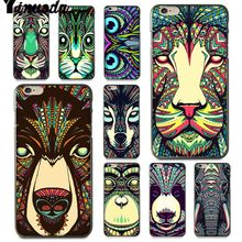 Yinuoda For iphone 7 6 X Case Luminous Animal Elephant Wolf Tiger Phone for iPhone  8 6S Plus 5 5S SE 5C