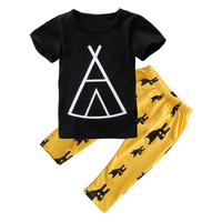 Newborn Maluch Niemowląt Baby Boy Ubrania Dla Dzieci T-shirt Topy + Spodnie Stroje Zestaw Podarunkowy, Black Tops + Żółte Spodnie Produkt, 1-2 Lat