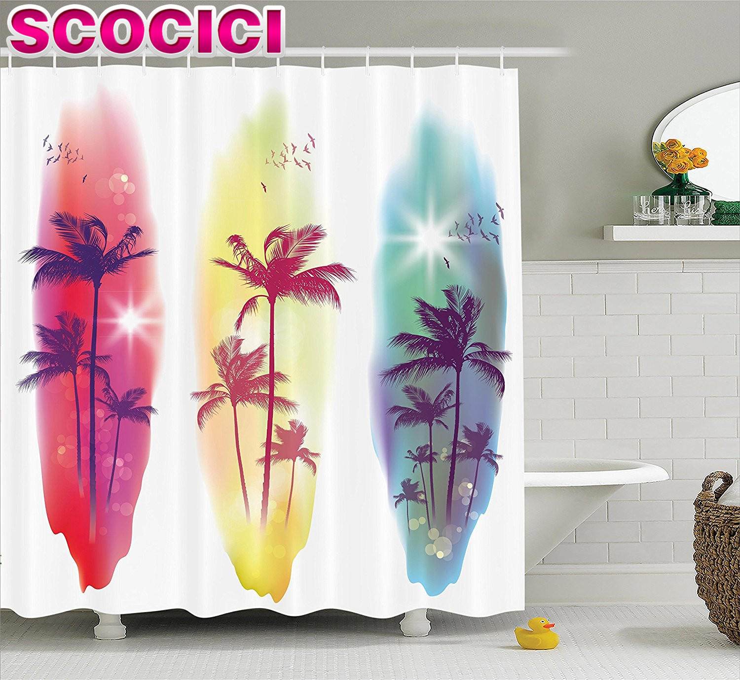 tropical decor shower curtain set palm trees birds seagulls pattern silhouette on surfing boards seascape theme bathroom accesso