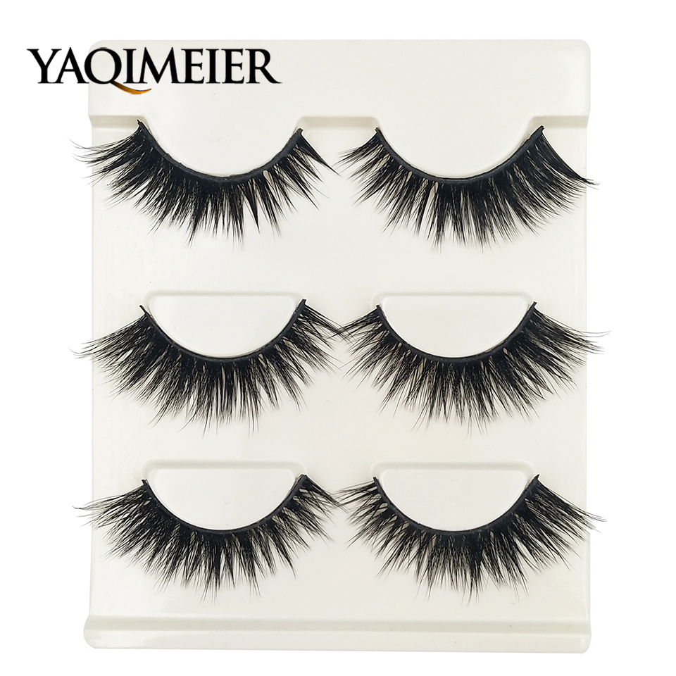 YAQIMEIER 3 Pairs / Box Natural Lashes 2018 Trendy Sexy Winged Thick 3D False Eyelashes Professional Makeup Synthetic Lashes