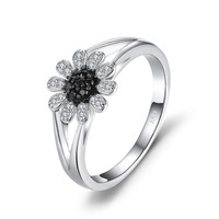 JewelryPalace Bloem 1.11 ct Natuurlijke Zwarte Spinel Ring 925 Sterling Zilveren Fashion Ring Voor Vrouwen Merk Edelsteen Fijne Sieraden