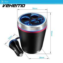 Vehemo 5V/3.5A Car Accessories Car Charger FM Transmitter Cup Bluetooth Automotive Cup Charger TF Pin Dual USB AUX Input(China)