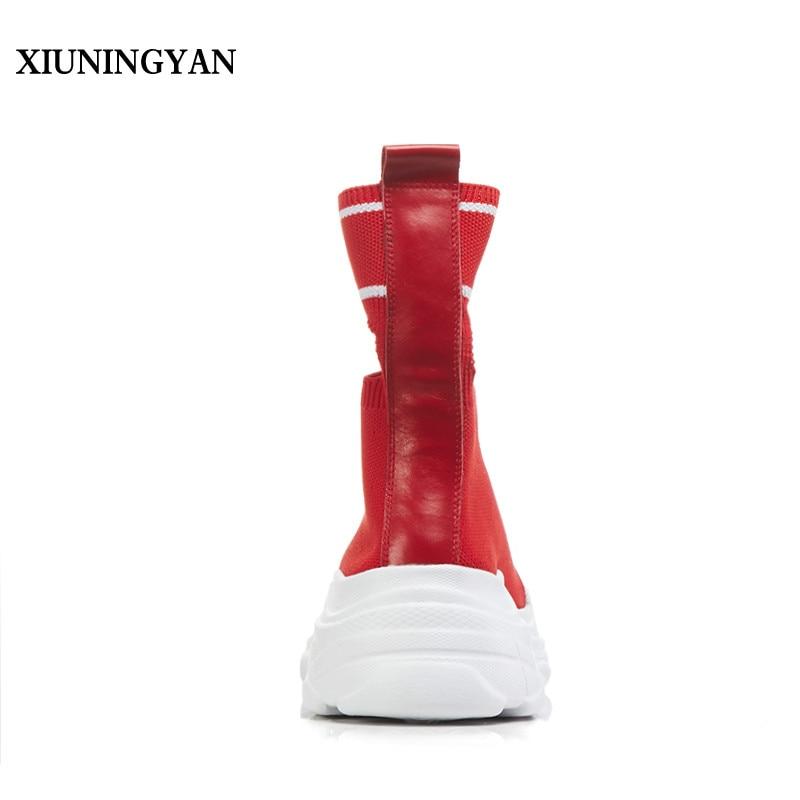 XIUNINGYAN 2018 Rouge Élastique Bottes pour Femmes Plate Forme Plat Talon Sneakers Tricoté Casual Chaussures Extensible Détouré Chaussette Chaussures Femmes - 4