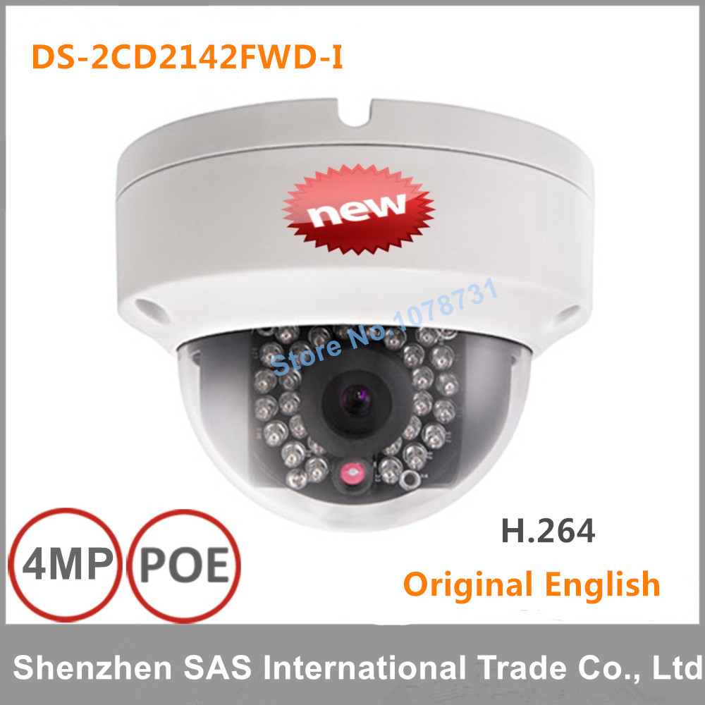 DHL Free shipping Hikvision DS-2CD2142FWD-I 4MP mini dome network cctv camera, P2P 1080p IP camera POE 120dB WDR hikvision 4mp ip camera ds 2cd1641fwd i 4mp vari focal network camera hd 1080p real time video ir bullet poe cctv camera