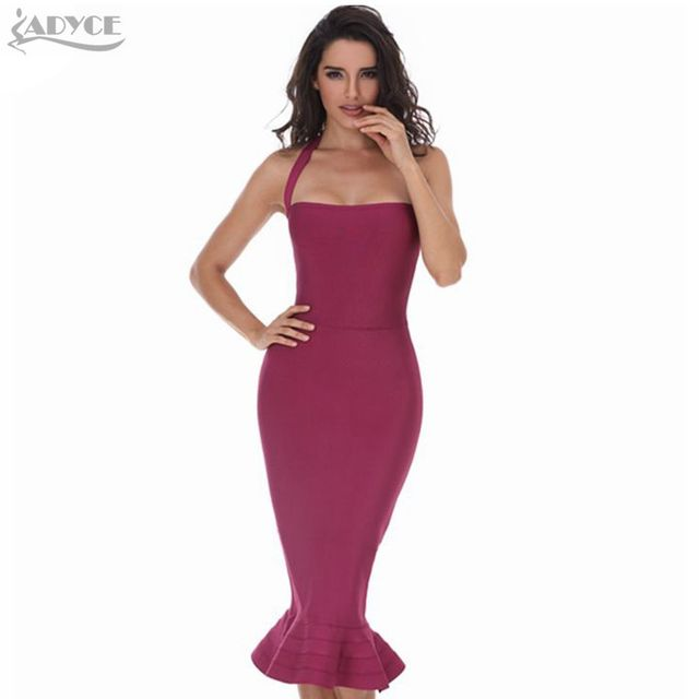 2016 New Women Party Bodycon Bandage Dress Sexy Khaki Wine Red Off Shoulder Halter Fishtail Midi Club Backless Runway Dresses