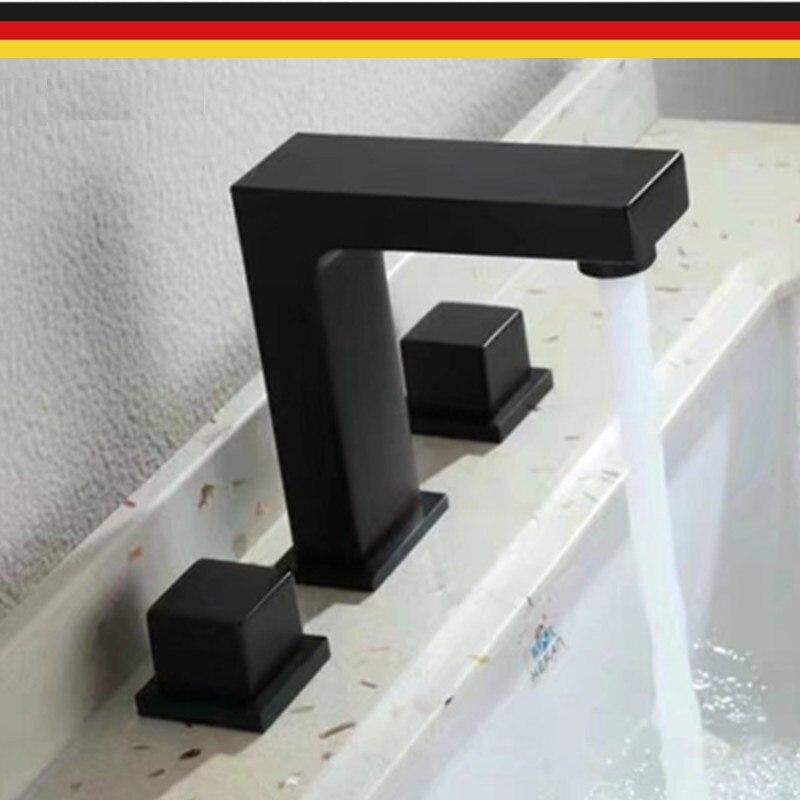 MTTUZK Double poignée carré en laiton salle de bains noir robinet d'eau Chaude Et D'eau Froide mitigeur trois trou Bassin fuacet Lavage Robinet