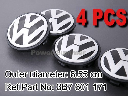 VW EMBLEM WHEEL CENTRE HUB CAP Golf Rabbit Jetta Mk5 Passat B6 R32 EOS Phaeton Replace 3B7 601 171 Outer Dia 65mm FREE SHIPPING