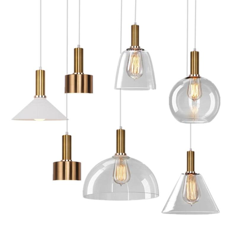 Europe LED pendant light Vintage glass aluminium lamp modern Hanging sitting dining room bar coffee shop lighting fixture