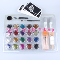 20 pcs Glitter Tattoo Powder for Body Art Temporary Tattoo/ body painting Kit w/ Brushes / Glue / Stencils free shipping