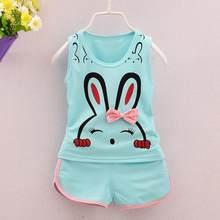 Nuevo bebé nacido 2 piezas bebé recién nacido Niñas Ropa Set dibujos  animados conejo chaleco Tops Shorts Outfit niños verano niñ. e9b569aa08ac