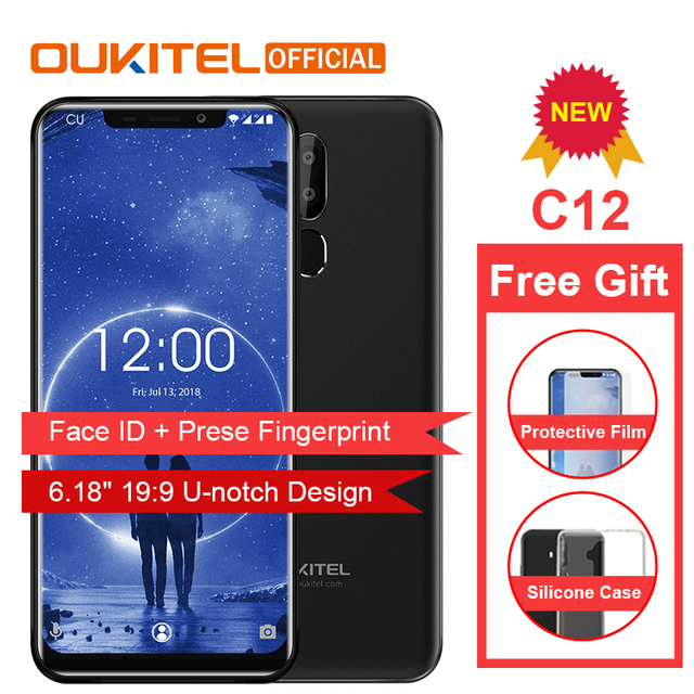 "OUKITEL C12 Face ID 6.18"" 19:9 Smartphone Fingerprint Android 8.1 Mobile Phone MTK6580 Quad Core 2G RAM 16G ROM 3300mAh Unlock"