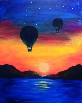 100% Hand Made Kids Room Decorative Oil Painting Hot Air Balloons At Night Over Water Painting on Canvas High Quality No Framed