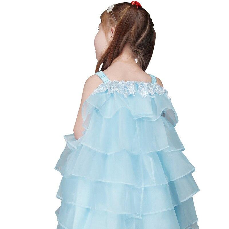 990dfae069640 Bleu clair Organza Fleur Fille Robes À Volants Ruches Première Sainte  Communion Robes Petites Dames Robe Belle robe de daminha dans Fleur Fille  Robes de ...