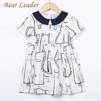 Bear Leader Girls Dress 2017 New Summer Style Dresses Children Clothing Red Short Sleeve Animal Print