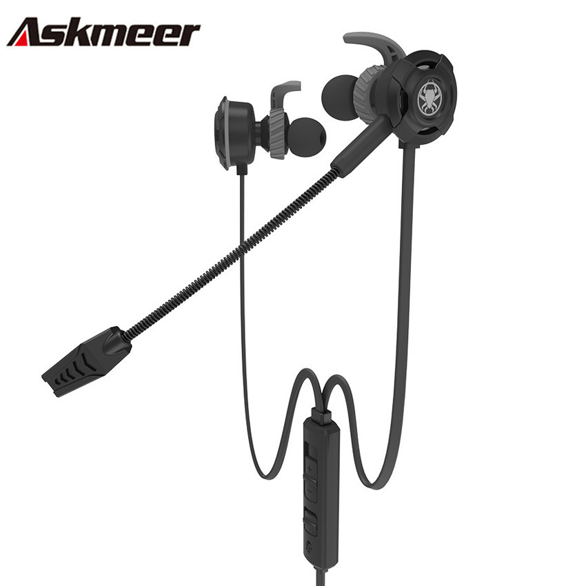 Askmeer In Ear Gaming Headset Stereo Sport Earphone Earbuds with Detachable Microphone for Mobile Phone PS4 New Xbox One PC