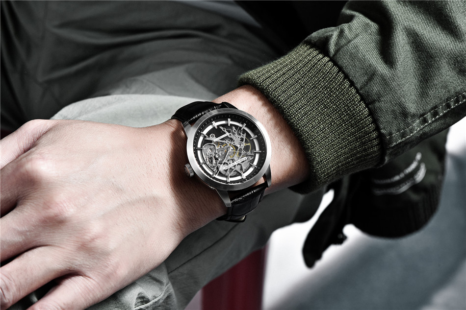 2019 PAGANI DESIGN Brand Fashion Leather Gold Watch Men Automatic Mechanical Skeleton Waterproof Watches Relogio Masculino Box