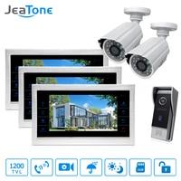 10 4 Wired Video Intercom Door Phone Doorbell Access Control System Voice Message 3 Monitors 1
