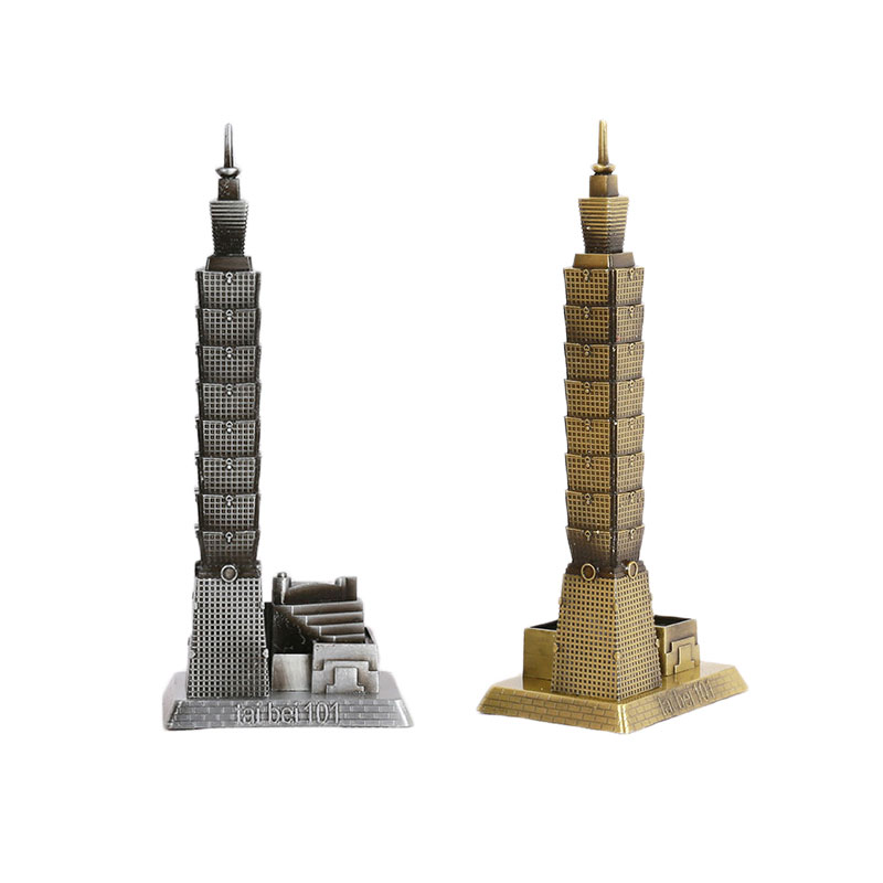 Chinese Taipei 101 Model Plating Metal Crafts Decor Figurines Hot Sewlling Home Decor Creative Fashion Business Ornaments Gifts(China)