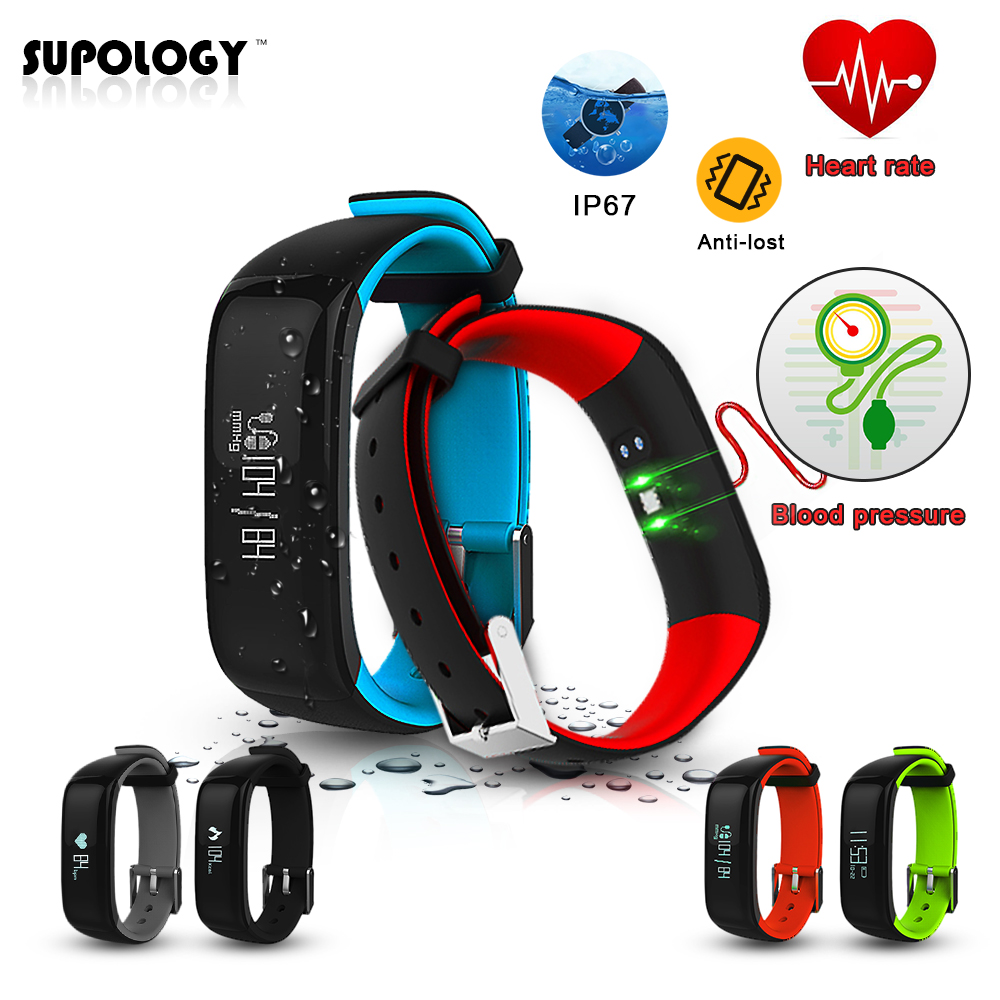 P1 Bluetooth Smart Bracelet Blood Pressure Heart Rate Sleep Monitor Sport Pedometer Waterproof IP67 Smart Band