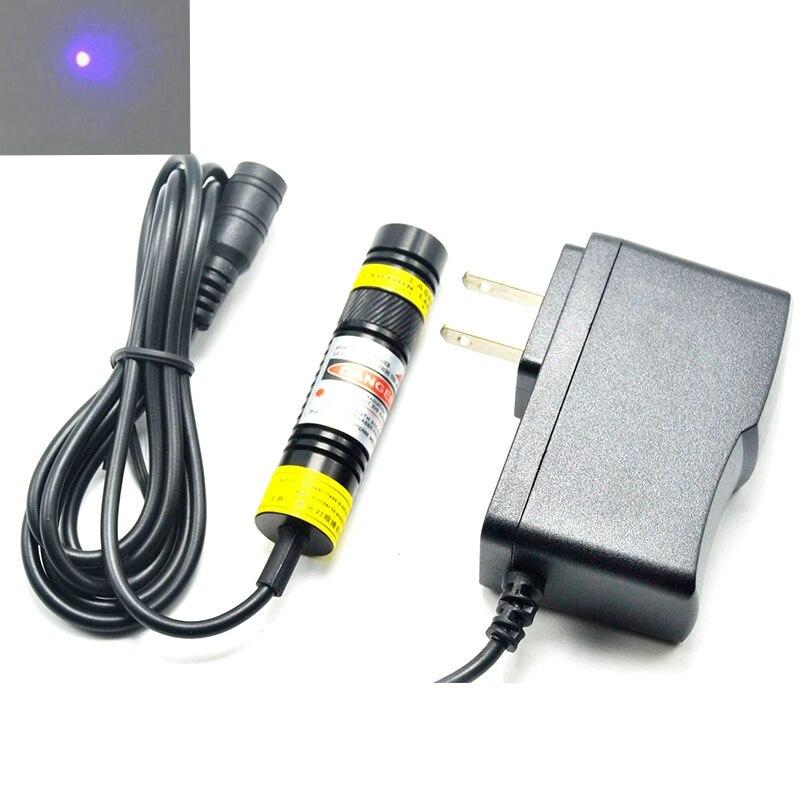 Фокусируемая точка/линия/Крест фиолетовый/синий фиолетовый лазерный модуль 405nm 100mW лазерное освещение 16 мм x 68 мм с адаптером US/EU/UK/AU 5V 1A