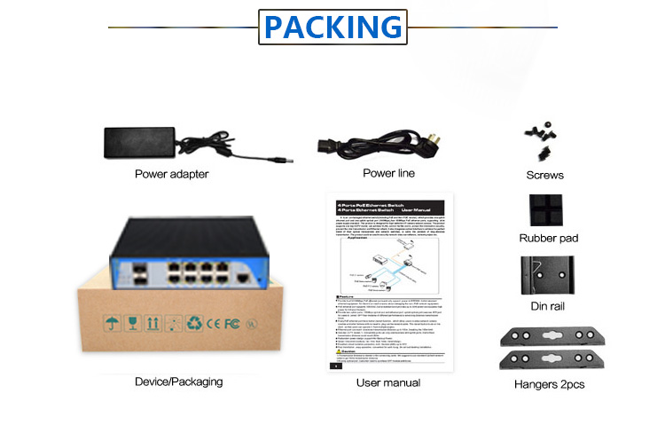 1000M 4ports/8ports POE industrial switch from shenzhen factory