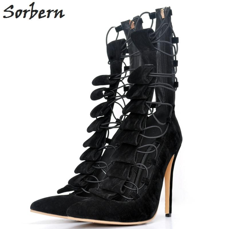 Sorbern High Heels Women Pumps Plus Size Ladies Party Shoes Designer Shoes Women Luxury 2018 Lace Up Pointed Toe Ladies S цена