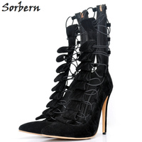 Sorbern High Heels Women Pumps Plus Size Ladies Party Shoes Designer Shoes Women Luxury 2018 Lace Up Pointed Toe Ladies S