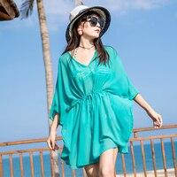 Holiday travel green chiffon shirt thin beach coat bikini blouse swimsuit outside take V neck sunscreen clothing summer