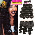 4 Bundles Malaysian Body Wave With Frontal Closure 8A Virgin Hair Body Wave With Frontal Closure Three Part Closure With Bundles