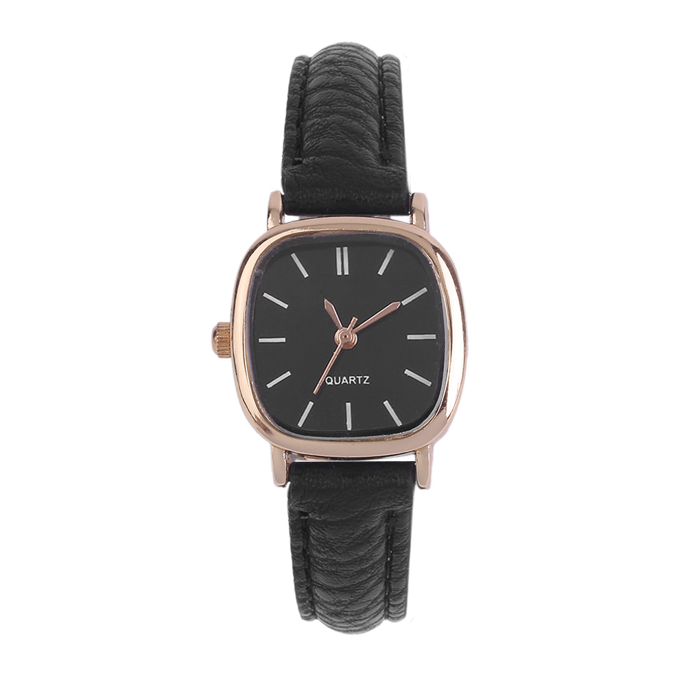 Vintage Round SHape Small Dial Wrist Watch Women Lady PU Leather Watches Korean Style Quartz WristWatch Relojes Mujer Best Gift diniho fashion lady s pu leather band round dial quartz waterproof wrist watch black 1 x lr626