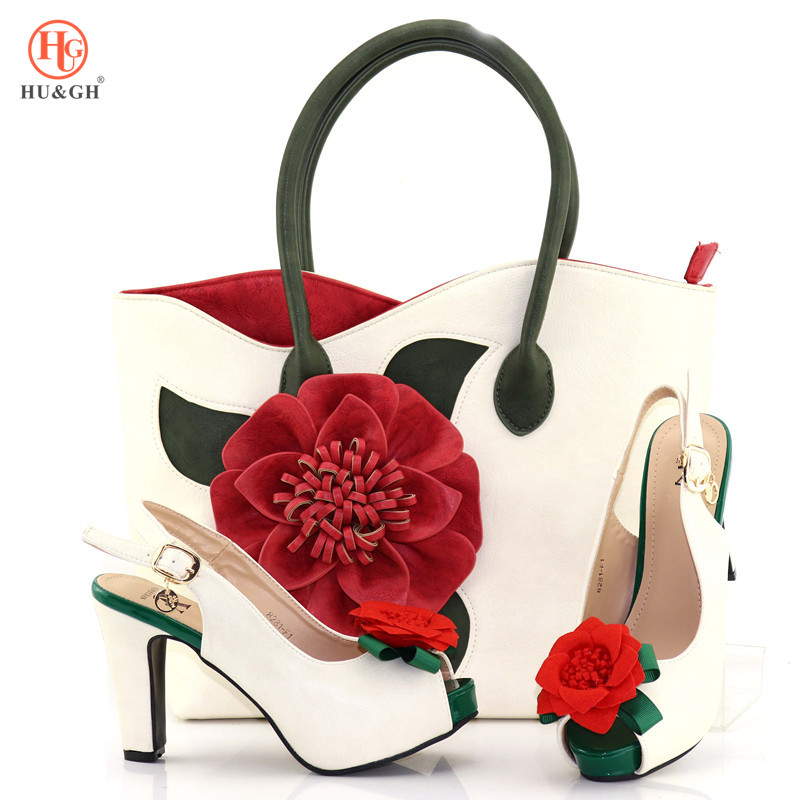 New White Color Italian Style Rhinestone Shoes And Bags Set African Fashion high Heels 11CM Shoes And Bags Set For Party Wedding