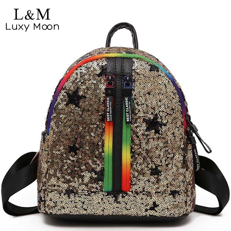 Luxy moon Glitter Backpack Women Sequins Backpacks Teenage Girls Bling Fashion Brand Sliver 2018 Small School Bag mochila XA374H