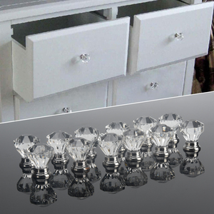 12pcs Clear Acrylic 30mm Diamond Shape Knob Cupboard Drawer Pull Handle Knobs Brand New Knobs and Kandles for Furniture Drawers