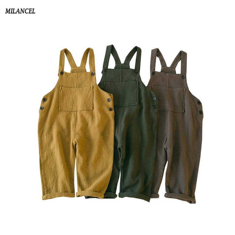 MILANCEL 2018 New Girls Overalls Cotton Children's Clothing Harem Pants Linen Boys Overalls Spring Girls Clothes jones new york women s linen blend pants 14wp green