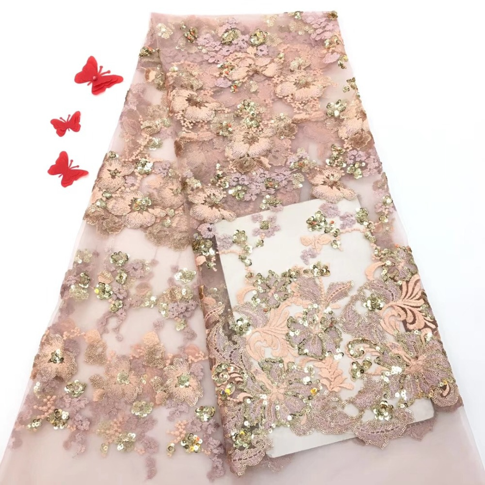 2019 Newly designed Nigerian lace fabric, African lace fabric tulle lace dress lace with exquisite sequins2019 Newly designed Nigerian lace fabric, African lace fabric tulle lace dress lace with exquisite sequins