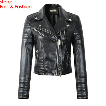 2020 New Fashion Women Motorcycle Faux Leather Jackets Ladies Long Sleeve Autumn Winter Biker Zippers Streetwear Black Coat