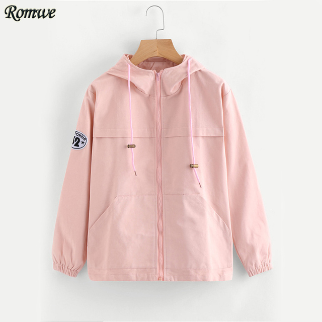 Aliexpress.com : Buy ROMWE Pink Zip Up Hooded Jacket Women Cute ...