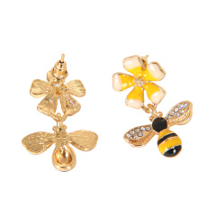 2018 New Cute Bee Yellow Flower Enamel Alloy Drop Earrings For Women Girl Fashion Jewelry Accessories