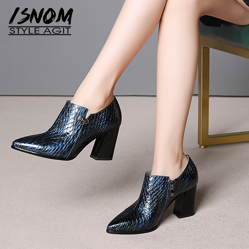 ISNOM 2019 Office High Heels Women Pumps Square Toe Footwear Cow Leather Ladies Shoes Fashion Emboss