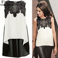 2017 Sexy Women Lace Crochet Chiffon Blouses Shirt Sleeveless Lace Splicing Irregular Top Women Clothing Plus Size M-XL u2
