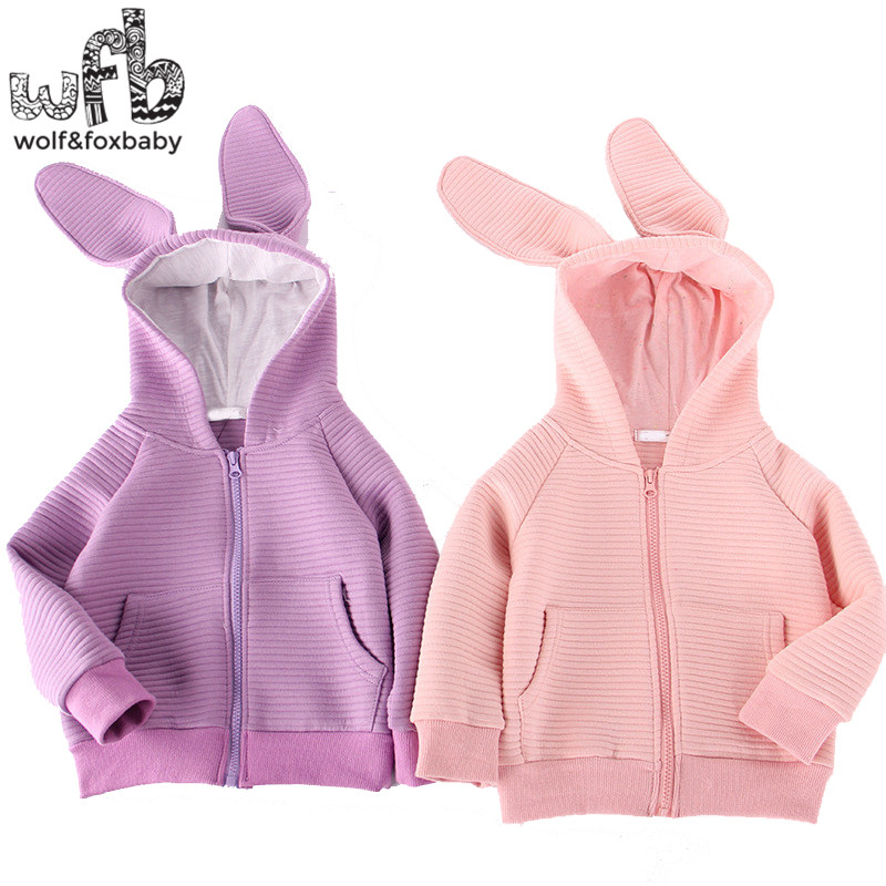 Retail 3 10years Long Sleeve sweatshirt hoodies bunny coat baby kids children girls boys Clothes Infant