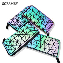 SOPAMEY New Women Long Wallet Geometric Luminous BaoBao Female Clutch Multifunction Wallet Purse Card Holder Organizer wallets
