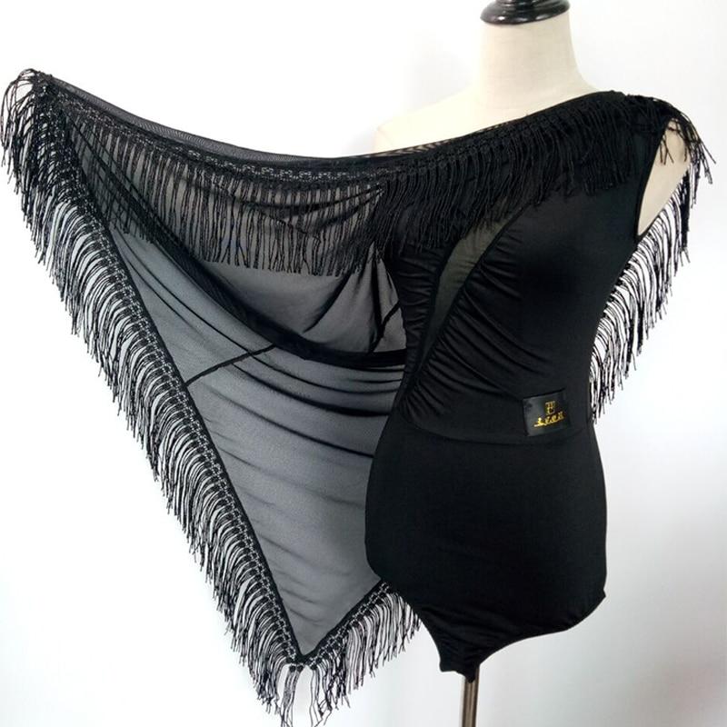 2018 Elegant Latin Dance Dress for Ladies Black Fringe Costume Women Ballroom Competitive Samba Tango Feminine Costumes N1073