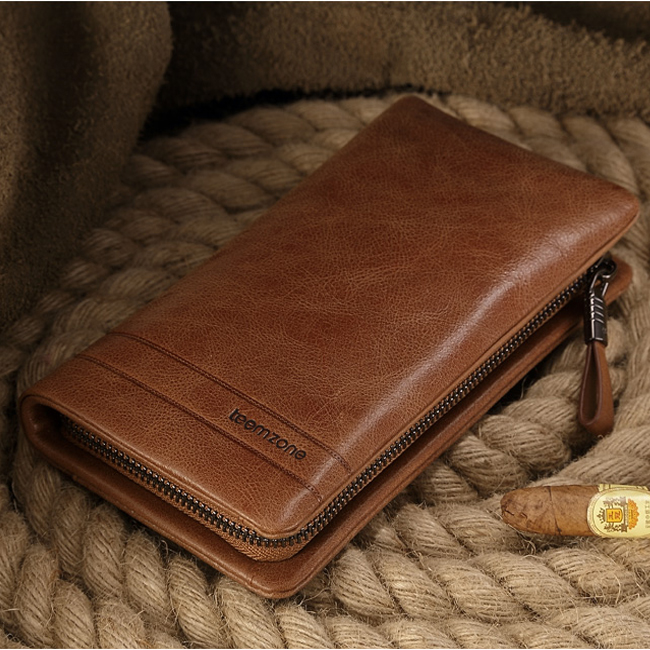 Brand  Genuine Leather Men Double Zipper Clutch Card Slots Vintage Business Men Wallets Long Cow Leather High Capacity Black j50 top brand genuine leather wallets for men women large capacity zipper clutch purses cell phone passport card holders notecase