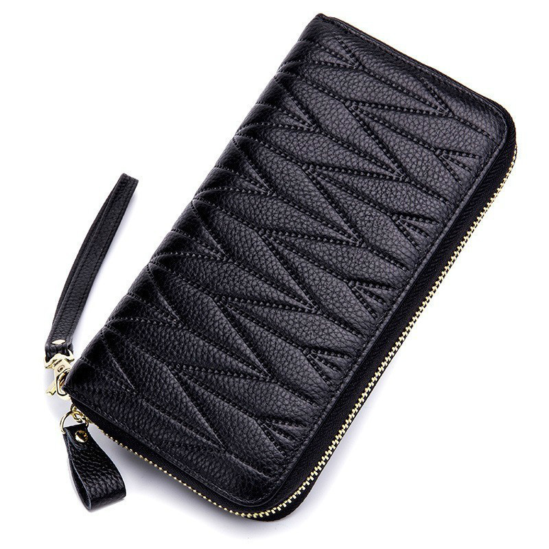 New Women Wallet Genuine Leather Coin Purse Long Clutch Bags Rfid Female Card Holder Money Pocket Women Wallets With Phone Case