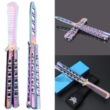 Stainless Steel Knife Comb Titanium Butterfly Style Training Knife Folding Butterfly Knife Game Knife Dull Tool цены онлайн