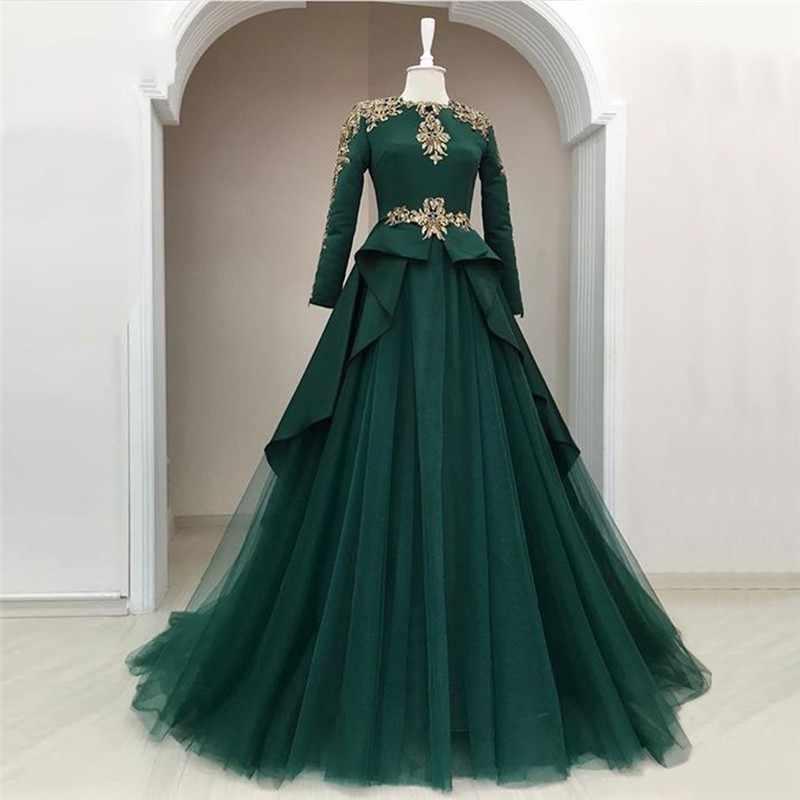 85a02aa23fe30 ... Modest Muslim Green Evening Dresses Full Sleeves Peplum A-line Evening  Gowns Appliques Beaded Long ...